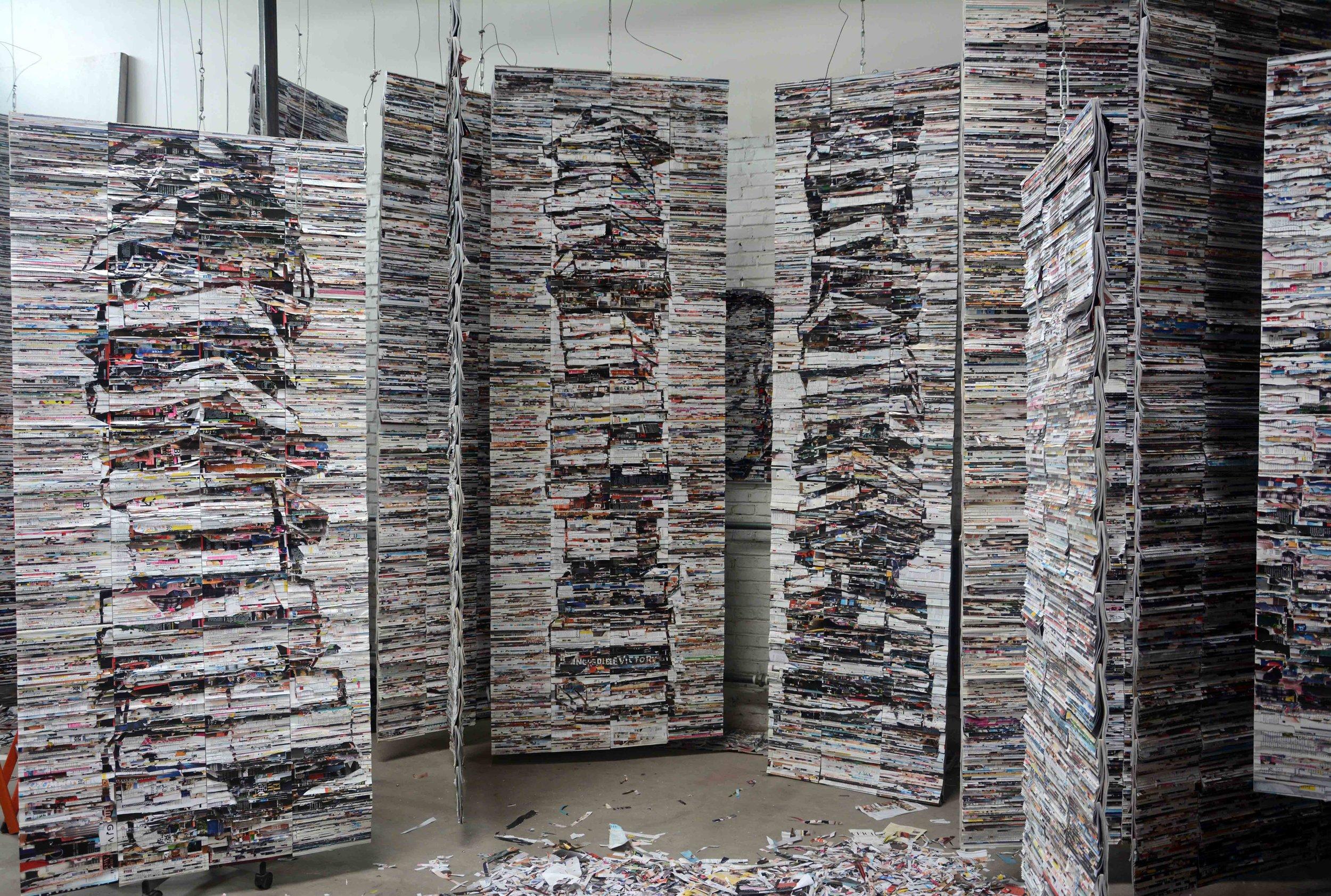 李枪,《图书馆计划》,2016年。杂志装置,尺寸可变。图片由艺术家提供。