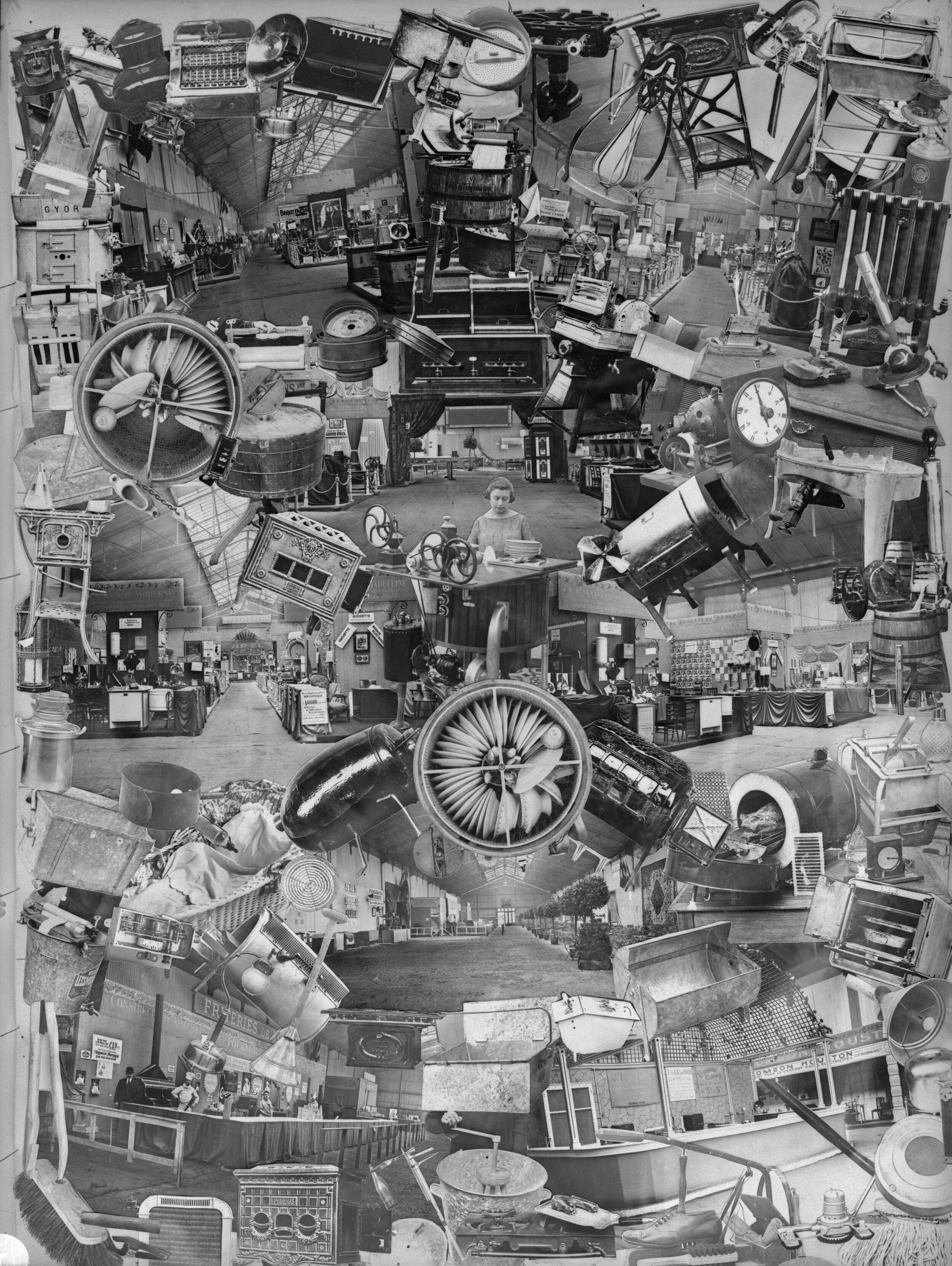 国家科学与工业研发办事处,于勒-路易斯·布雷顿的拼贴照片(家用电器),1923年12月4日。现由法国国家科学研究中心收藏,B_4912。
