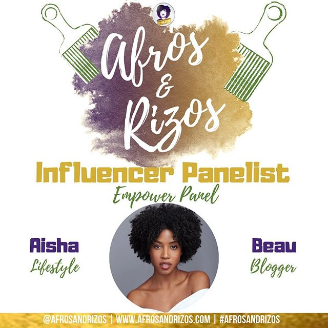 We're so excited to have @aishabeau  on our Influencer Panel! She left the fashion industry to become a full time blogger! She blogs about self-care, beauty, mental health & wellness. She is a model and an actress! We can't wait to hear about her transition & experience as a blogger! - TICKET LINK IN BIO July 20th 💜💛 - We are #afrosandrizos