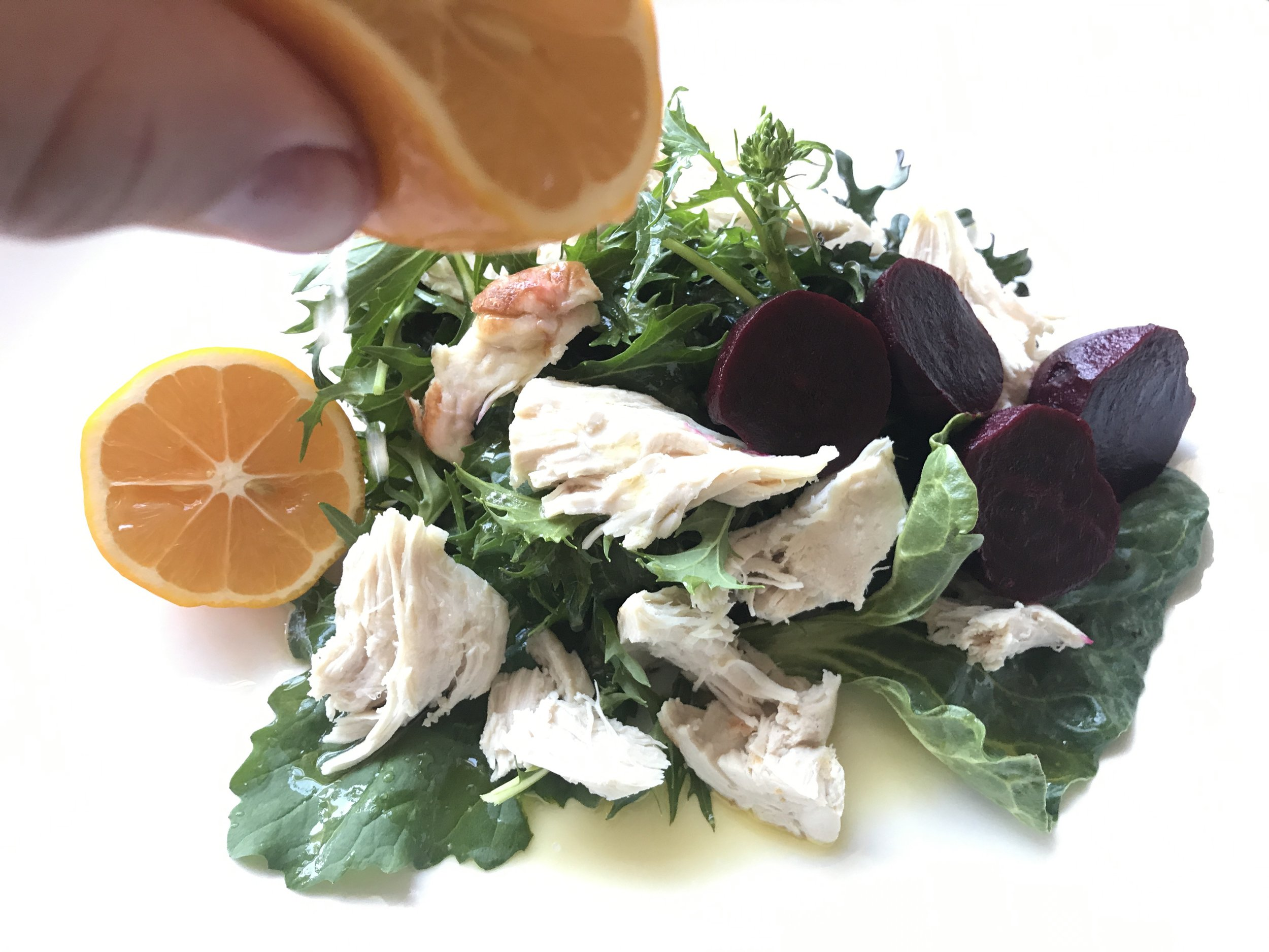 mixed leaf with chicken