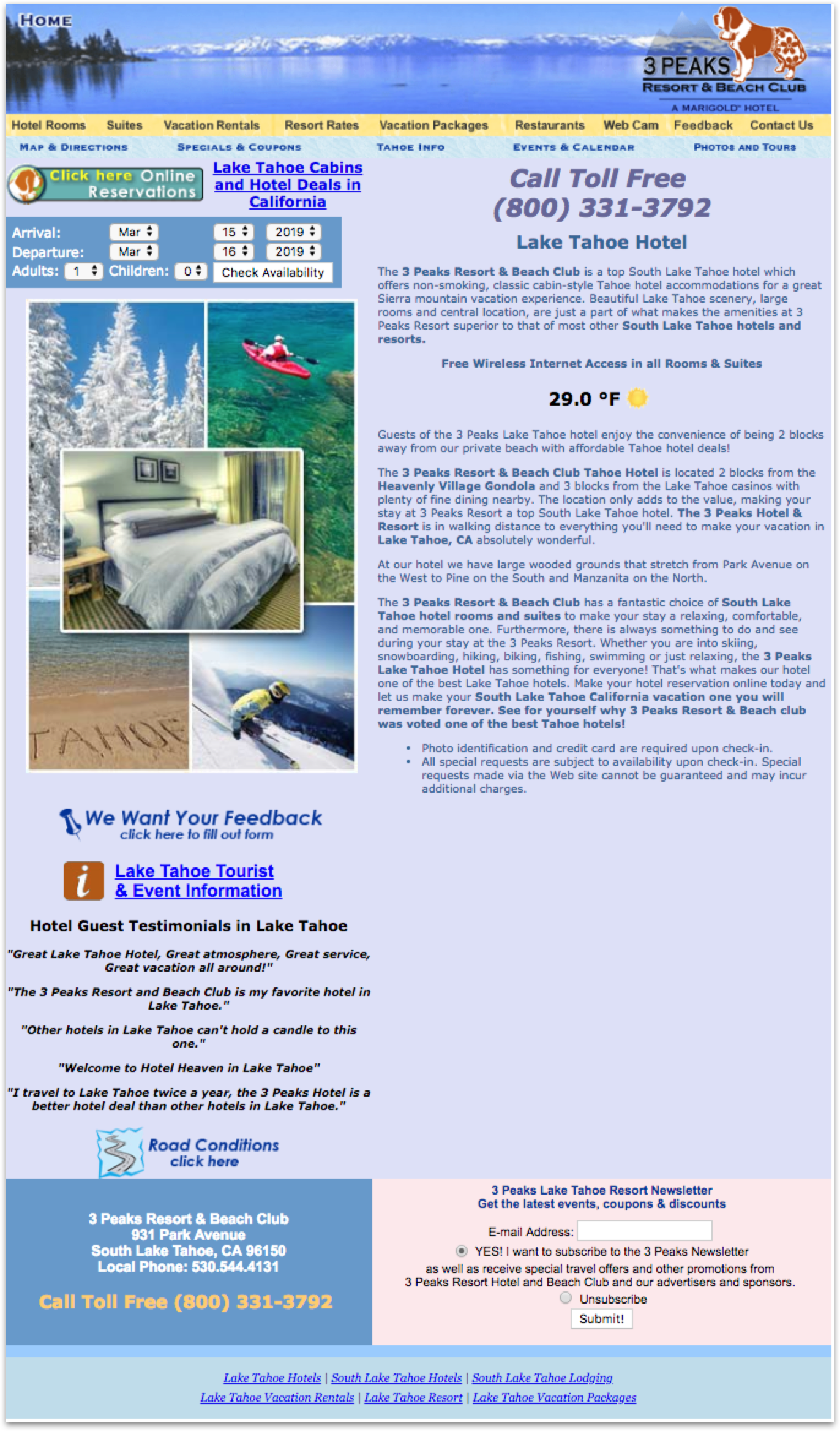 3Peaks Lake Tahoe Landing Page - The current website was outdated in design and functionality.