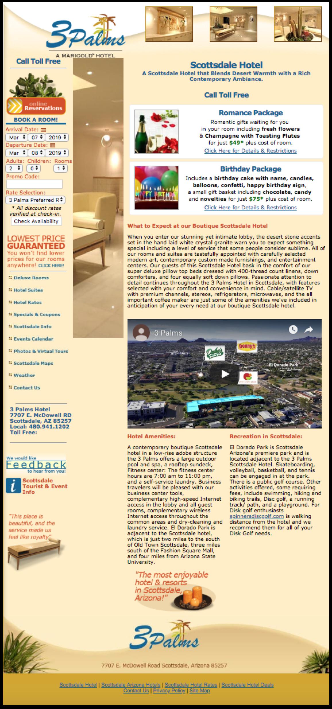 3Palms Scottsdale Landing Page -