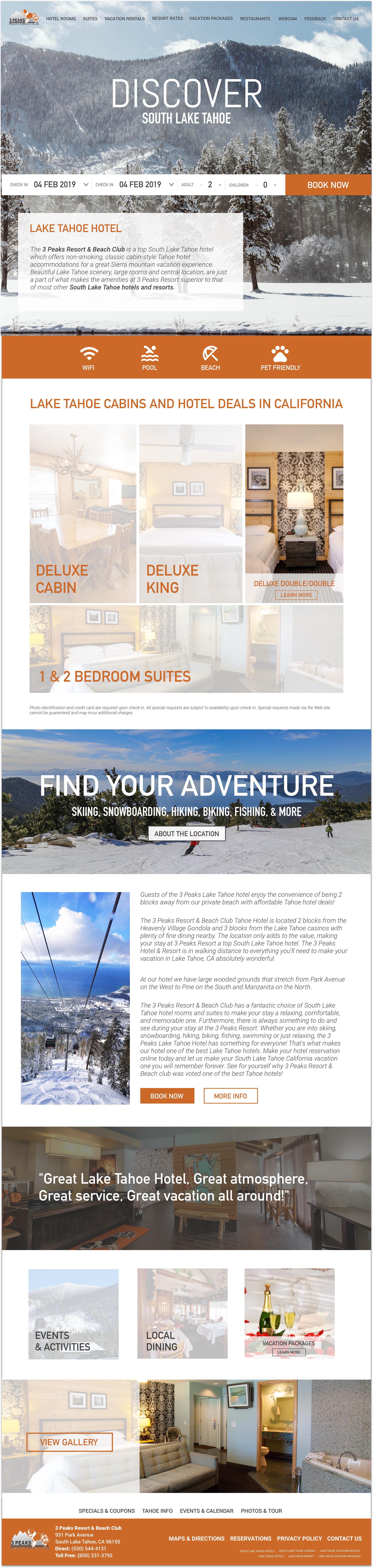 3Peaks Lake Tahoe Landing Page -