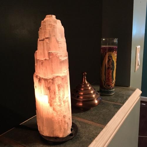 My gorgeous selenite lamp!