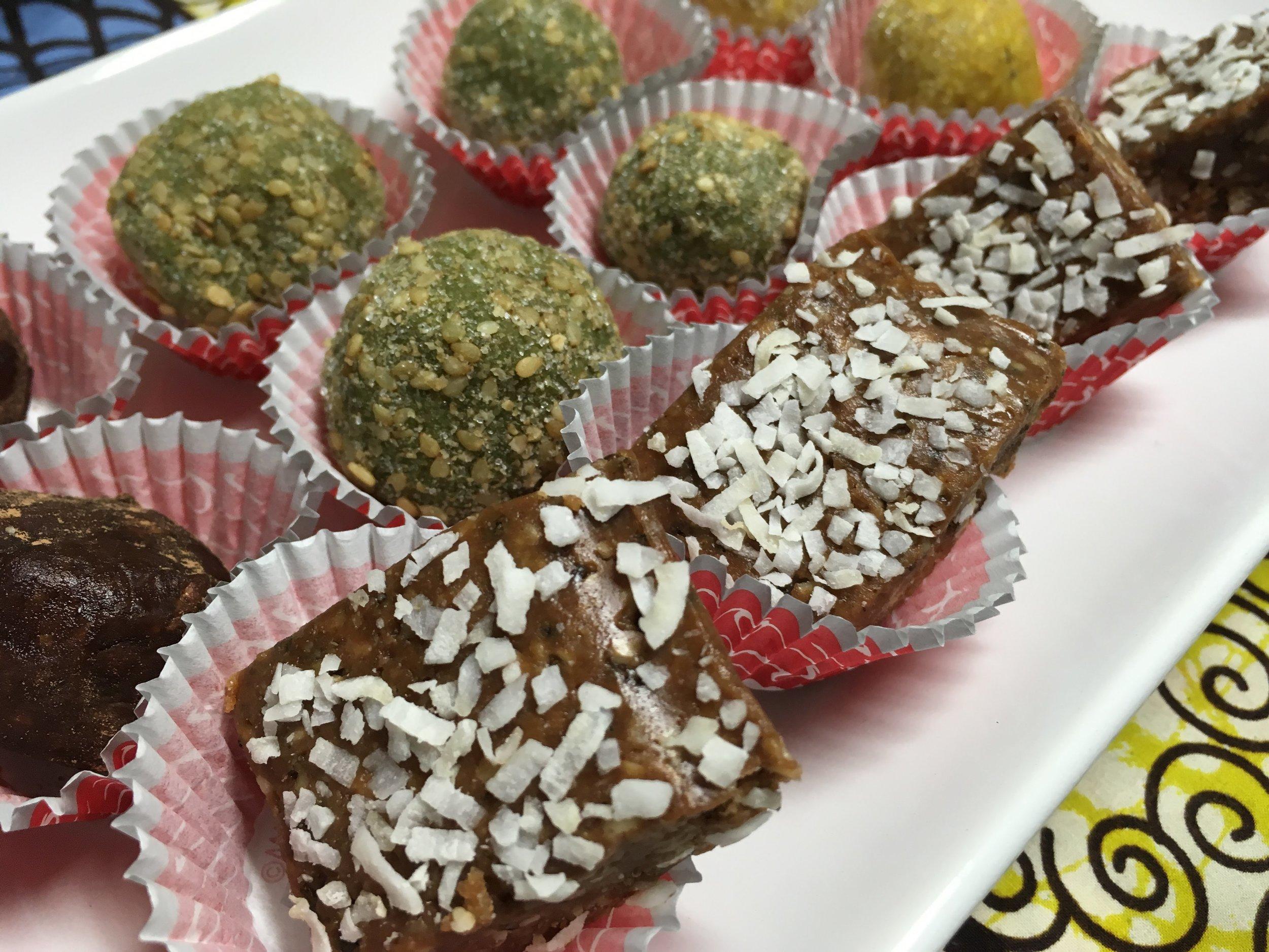Lemon Blueberry Lavender, Matcha, Chocolate Raspberry Hazlenut, Chocolate Peanut Butter Maca Truffles!