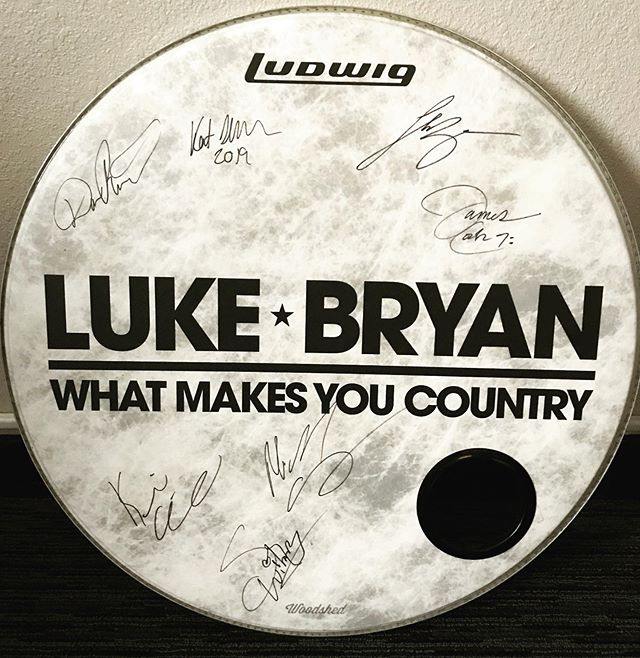 """#AssumeControl with @kstix8 @lukebryan  Autographed 24"""" Bass Drum Head from last year's """"What Makes You Country"""" Tour ... *Entire Band Autographed ... Luke Bryan , Kent Slucher , James Cook , Michael Carter , Dave Ristrim , Kevin Arrowsmith and Scottie Wilbanks ... Up for Auction on @jc6611 Facebook Page benefitting @breastcancercanstickit ... *Link in BIO Auction ends 10 Sept at 9pm EST !"""