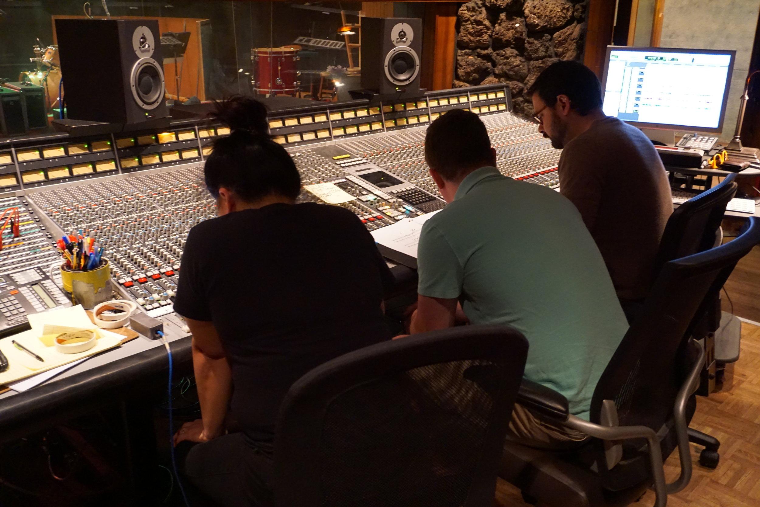 A/B Duo listening to mixes with engineer Alberto Hernandez at Fantasy Studios.