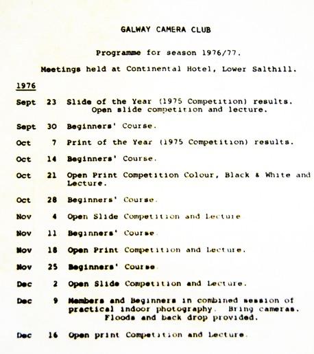 1976 Club Program of Events
