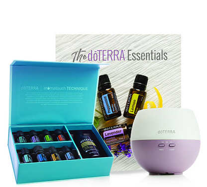 Aromatouch diffused kit €194.50 - 5 ML BOTTLES:BalanceLavenderMelaleucaOn GuardAromaTouchDeep BlueWild OrangePeppermintOTHER PRODUCTS:Fractionated Coconut Oil (115 ml)Petal DiffuserdōTERRA Essentials Booklet