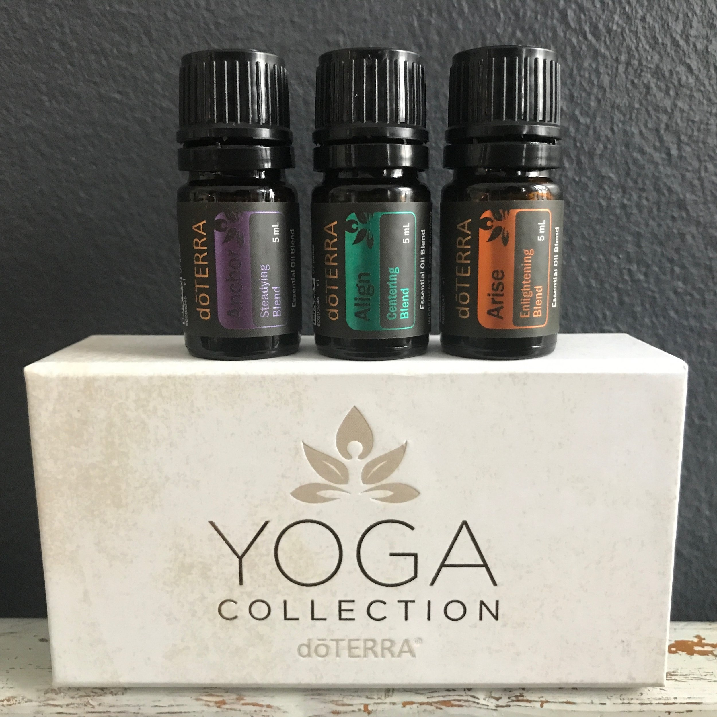 Yoga Collection €69#60205682 - Anchor 5 ml, promotes feelings of completeness, calmness, & courage.Align 5 ml, enocourages harmony & calm progress.Arise 5 ml, helps to instill feelings of happiness, clarity & courage.(If you are not yet a member remember to add €25 for the enrollment fee).