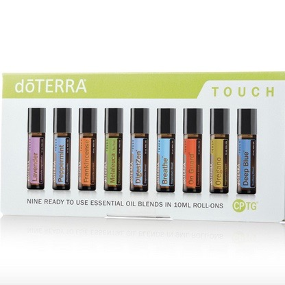 Touch kit - 9 ready to use blends in roller bottles €214#60200333 - Lavendel 10 ml, sleep, cuts, calming.Peppermint 10 ml, energizing, cooling, head tension, travel sicknessOn guard 10 ml, immun boost.Frankincense 10 ml, skin, stress, groundingOreagano 10 ml, natures antibiotic.Maleluca / Tea tree 10 ml, anti bacetrial, insect bites.Digest Zen / Zengest 10 ml, any digestive upset.Breathe/ Air 10 ml, clear airways, breath, respiratory.Deep Blue 10 ml, muscles, head tension.(If you are not yet a member remember to add €25 for the enrollment fee).
