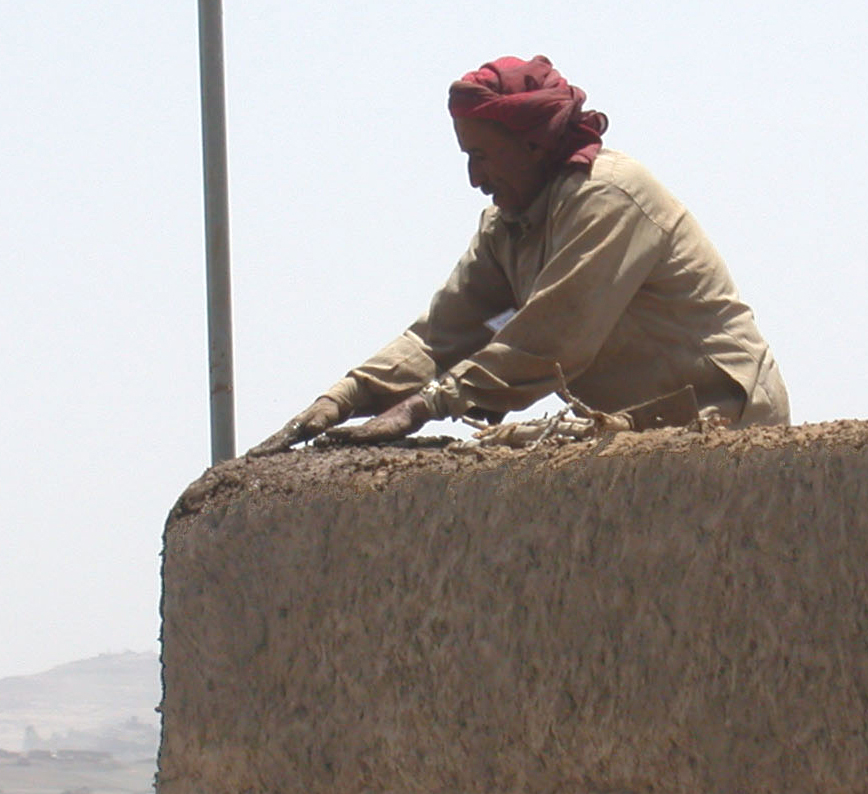Traditional Craftsmen build the walls for British Embassy - Sana'a, Yemen