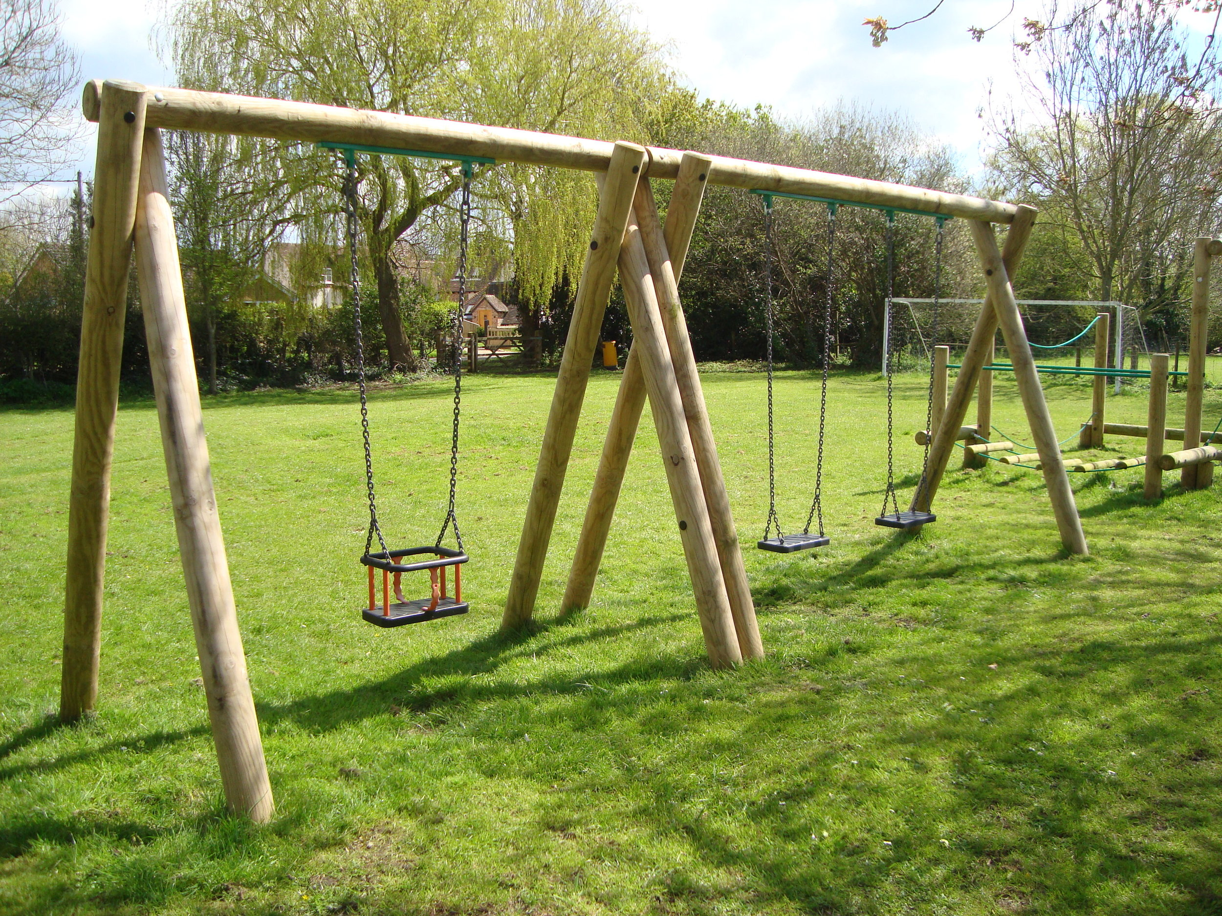 2.4m Timber Swing with 2 Flat and 1 Cradle Seat - Image 1.JPG