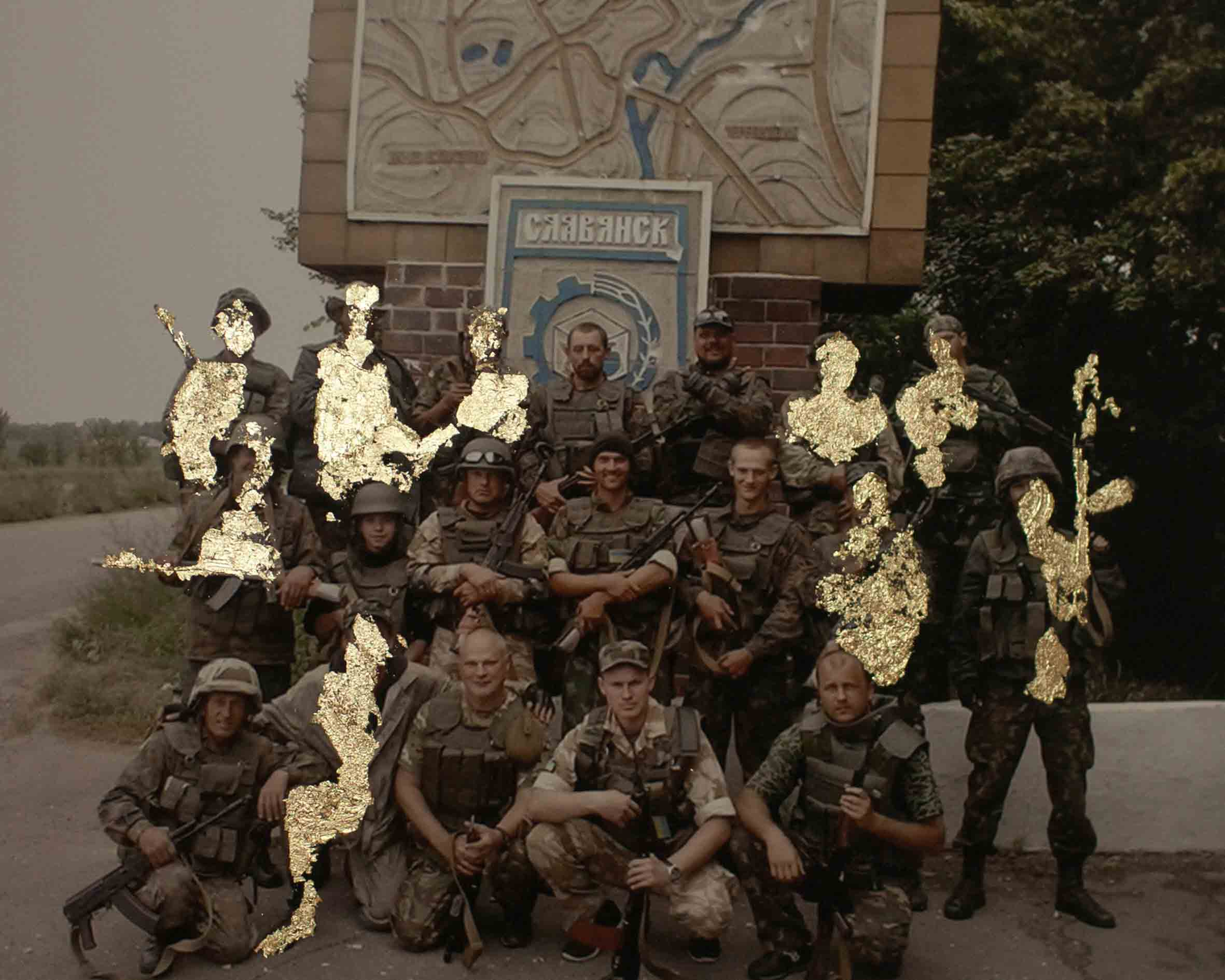 Wiktoria Wokciechowska,  The squad of nine killed and eight wounded , from the series of  Golden Collages - Sparks , collage on picture from a soldier's mobile phone's, 2015-2016. Courtesy of the artist.