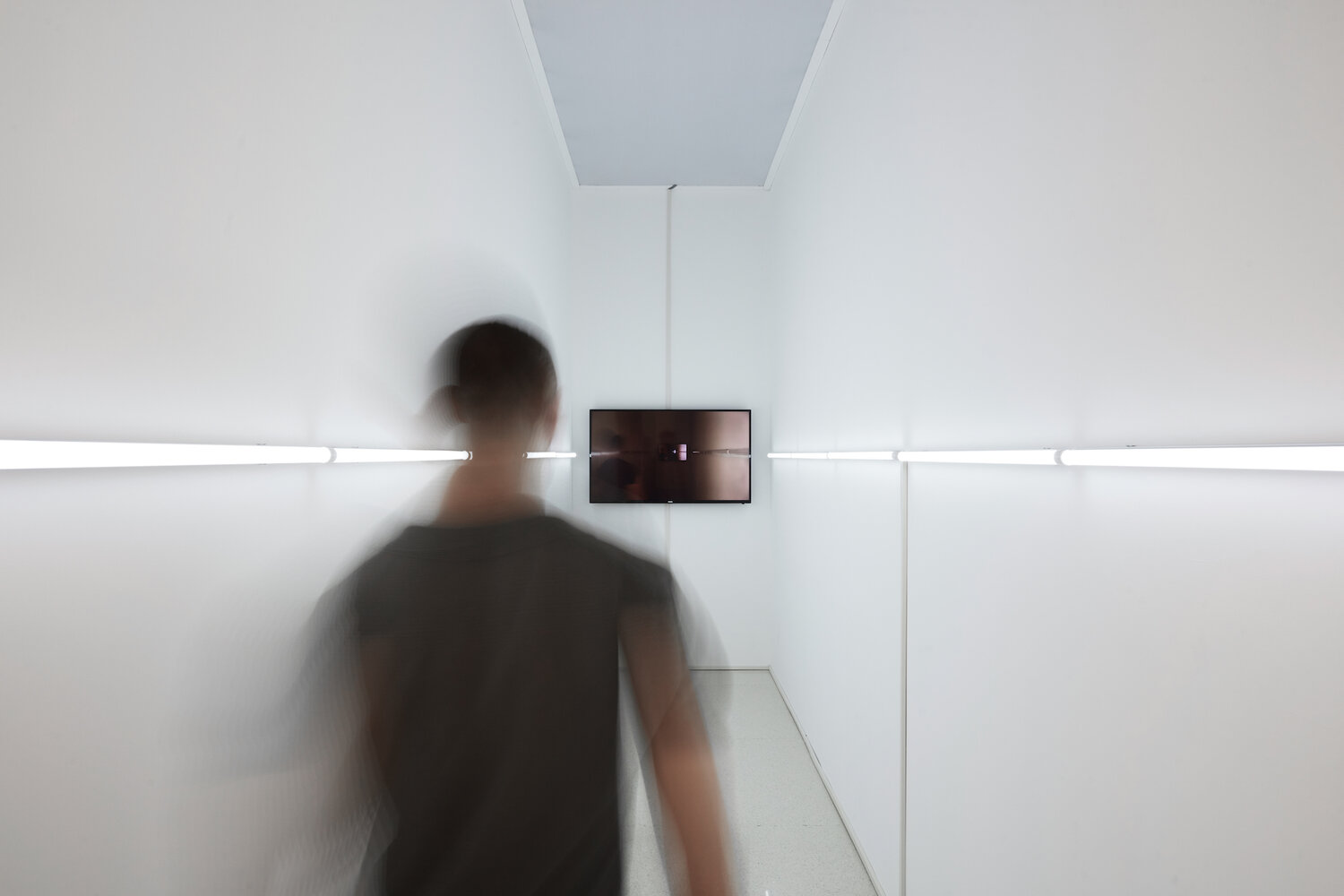 Feng Chen,  The Darker Side of Light: Shadow,  LED lights, monitors, camera, programming RGB Controller, 2018.