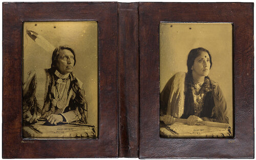 Annu Palakunnathu Matthew.  Feather Indian/Dot Indian , from the series  An Indian From India , 2008-2009, leather-bound album with digital prints backed by archival gold paper. Courtesy of the artist and Museum of Art & Photography.