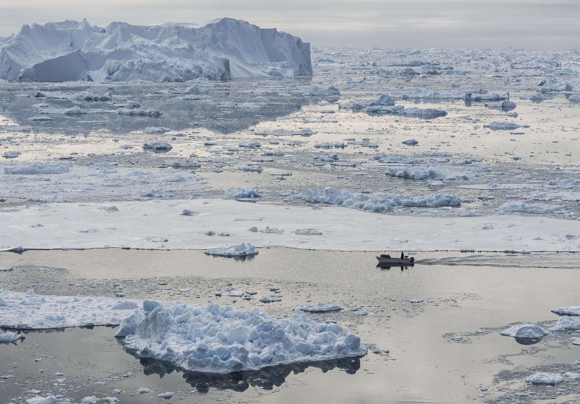 Fisherman & Icebergs, Disko Bay, Greenland 2012