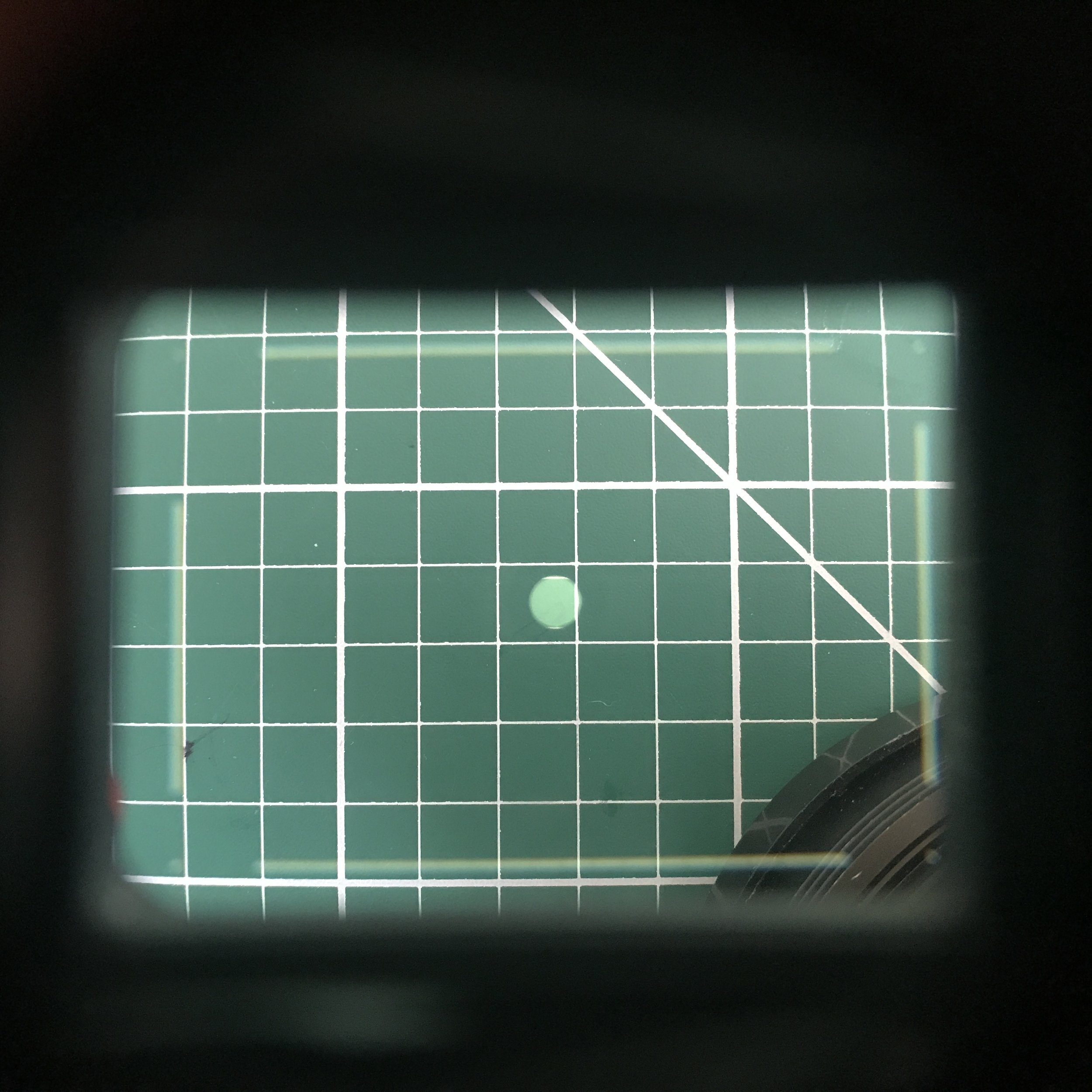 This is the viewfinder of the Fuji GW690iii. You can see the small size of the range finder focusing circle as well as the lens blocking the bottom right corner of the frame. This can make life tricky if you want any leading lines going in or out of that corner!