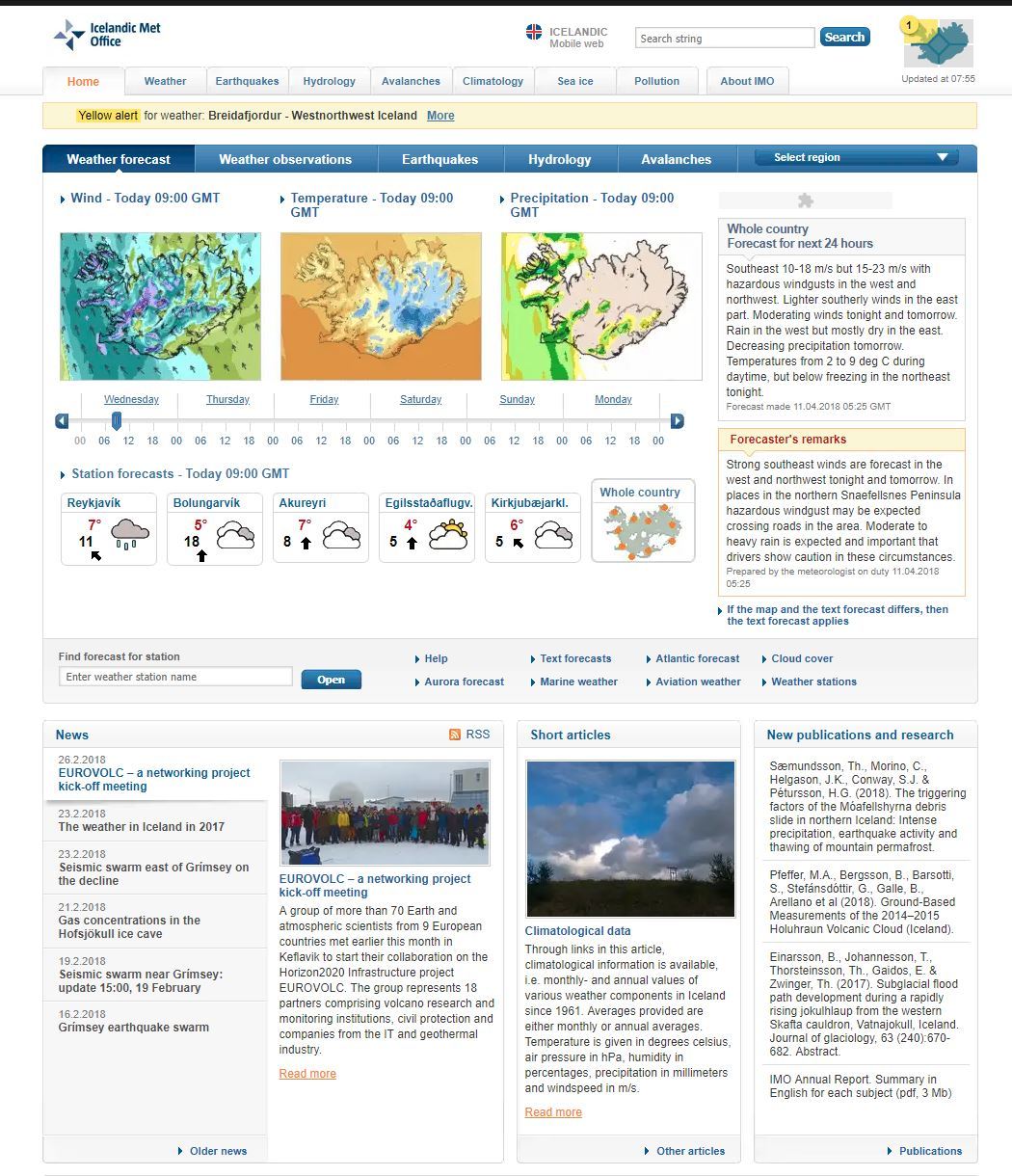 Icelandic Met Office Homepage