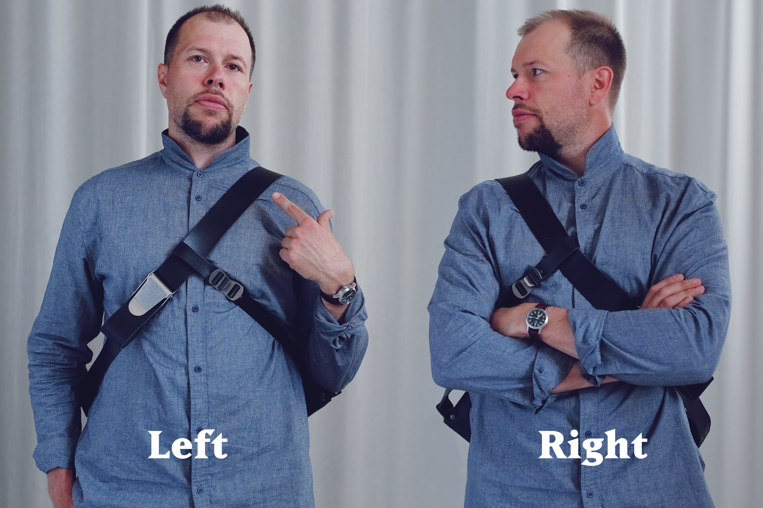 Two versions for wearing mainly on the left or right shoulder.