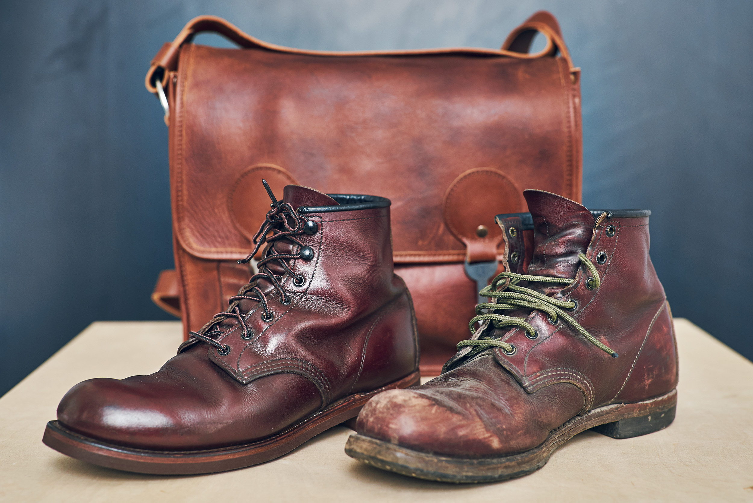 Well used and refurbished Red Wings boots - a great example of a product made to last.