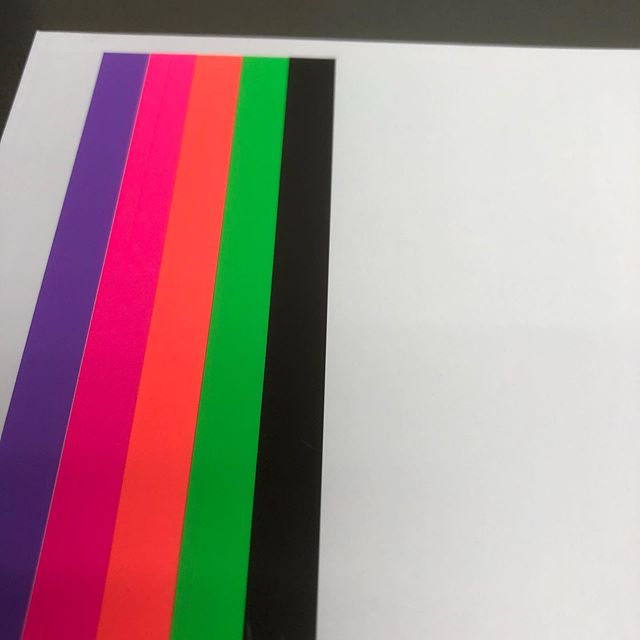 Printing #litho in 4 Fluor colours plus black onto @gfsmithpapers Heaven 42 paper #makeprintwork #usemorecolour