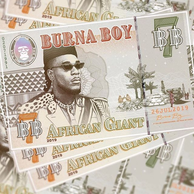 """""""My goal when creating the art for this project was to dispel the myth that """"blacks"""" and Africans don't get along...this project uses 💵 as a medium of exchange to show what can happen when everyone from the diaspora collaborates across all mediums and disciplines"""" - mighty words from @sajjad.wrk , the artist behind the artwork for Burna Boys latest album 'African Giant'"""