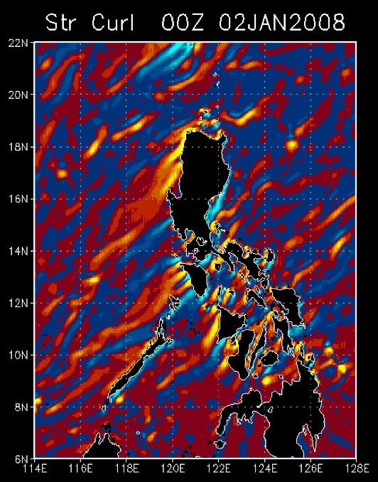 Monsoon cold surges generate intense wind jets and wakes whose associated wind stress curl pattern (above) induce a pair of counter-rotating oceanic eddies to propagate away from the islands into the South China Sea (Pullen et al., 2008).