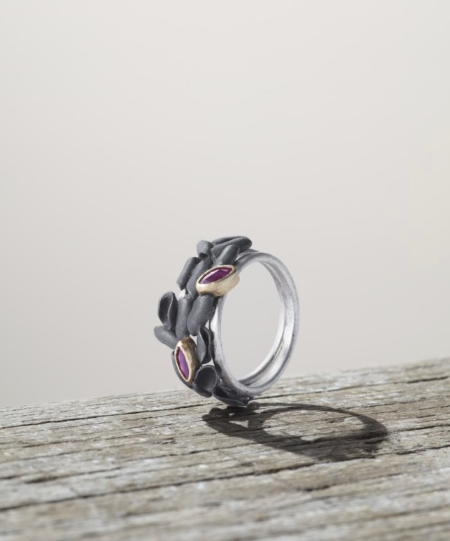 Silver and oxidised silver eden ring with 18ct gold and marquise rubies.jpg