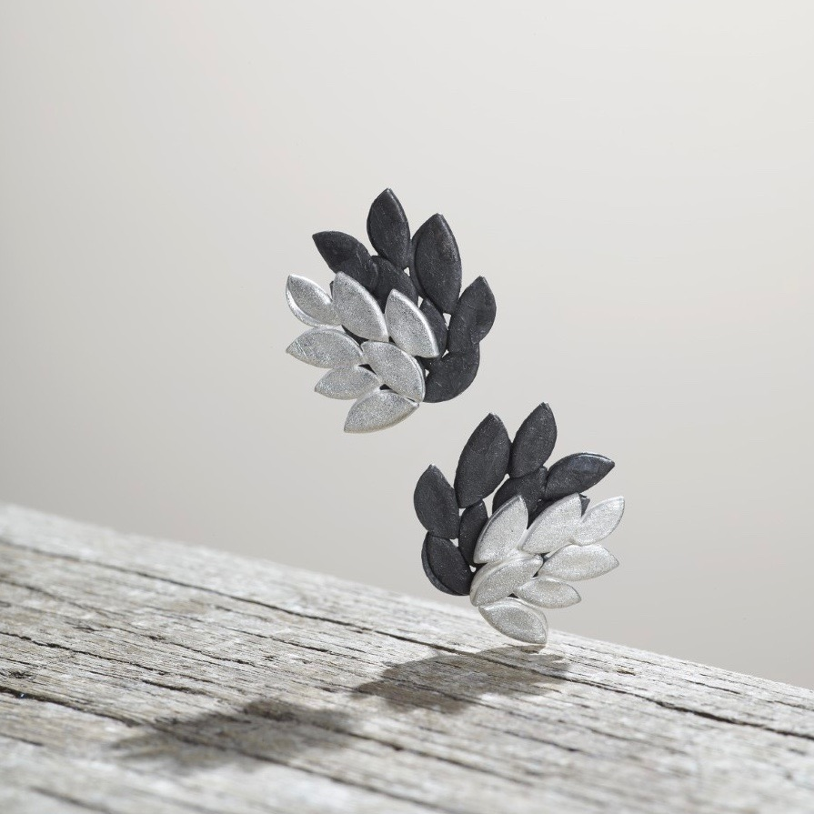 Silver and oxidised silver large eden stud earrings .jpg