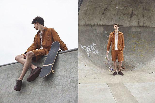Brown on Grey . A few years ago in Vicky Park with Luke G and @emilyrusbystylist . . . . . #victoriaparkbowl #skatestyle #grom #eastlondon #skatepark #lukeG #skatelife #brownongrey #nollie #concrete #skatefashion #ukskateparks