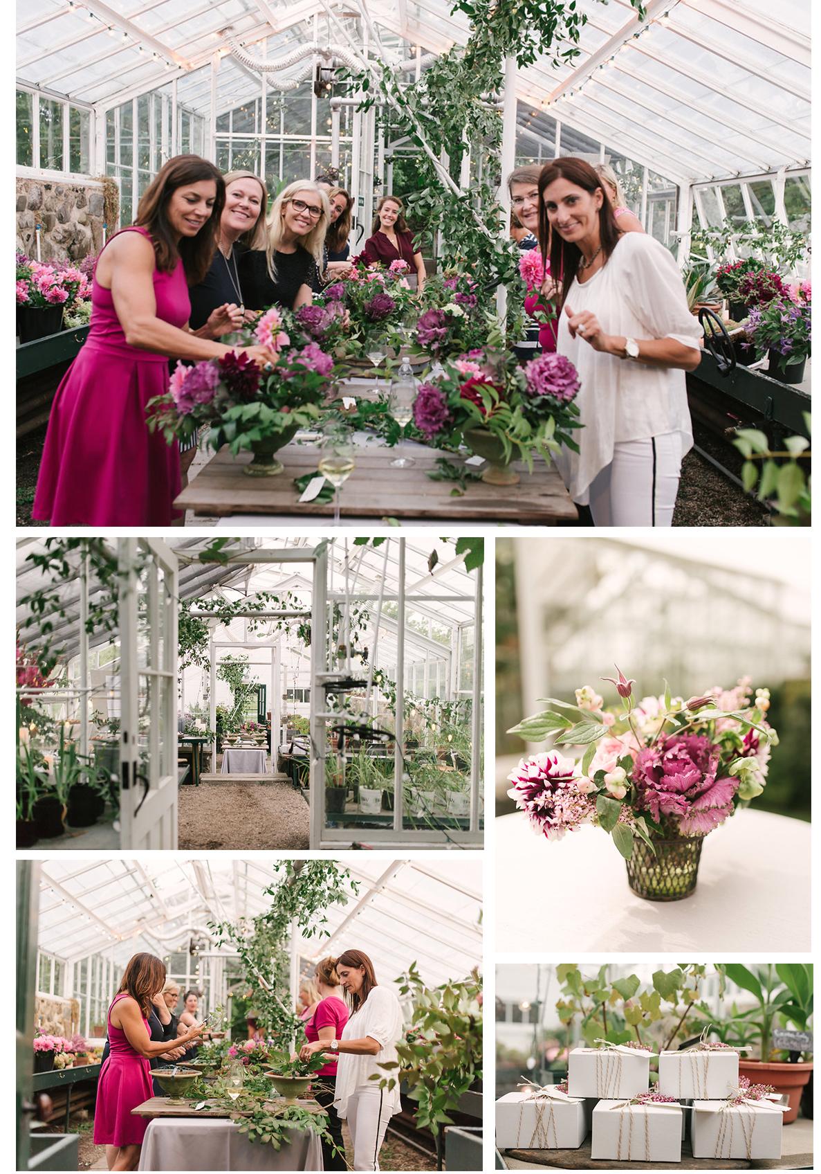 Les Fleurs greenhouse workshop learning to design stunning floral arrangements in heirloom urns