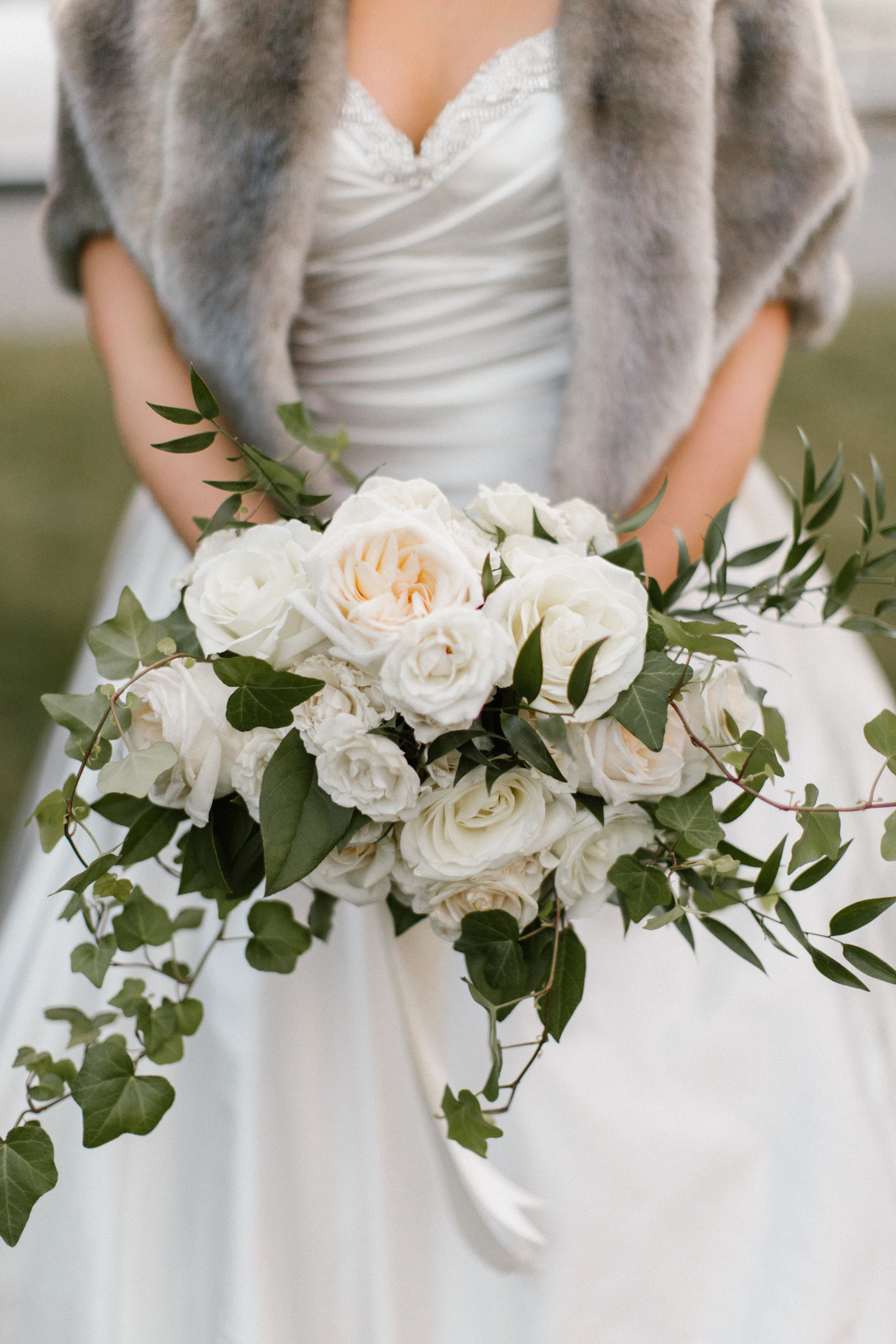 bridal bouquet, garden roses, white and green