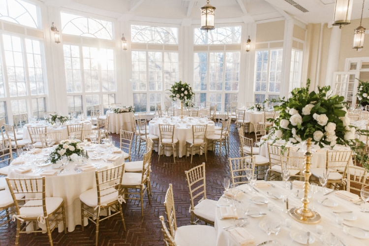 tupper manor reception tall and low centerpieces