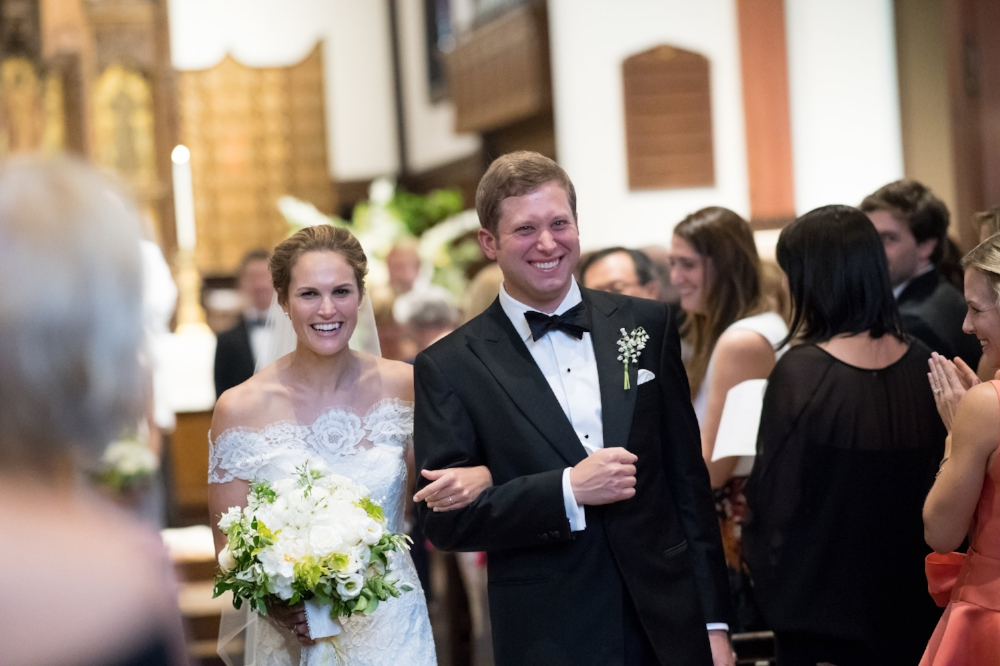 church wedding, yellow and white, happy couple, northshore wedding