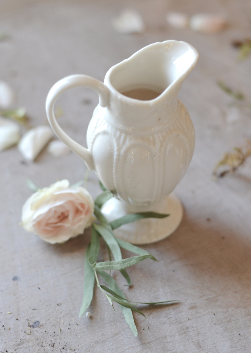 les fleurs andover french antique white petite ironstone pitcher