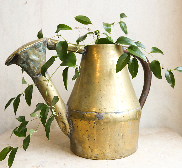 les fleurs andover antique french brass copper watering can patina