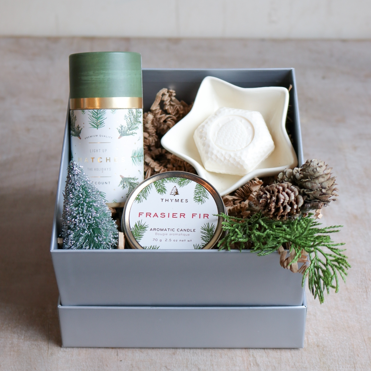 French goat milk soap, cedarwood candle, matches & star dish