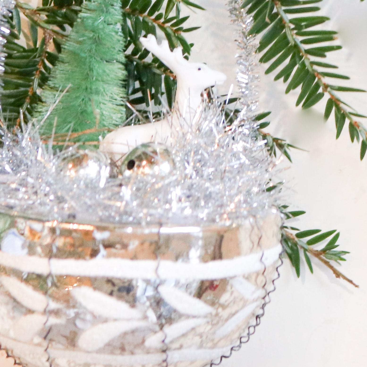 christmas ornament deer forest gold basket