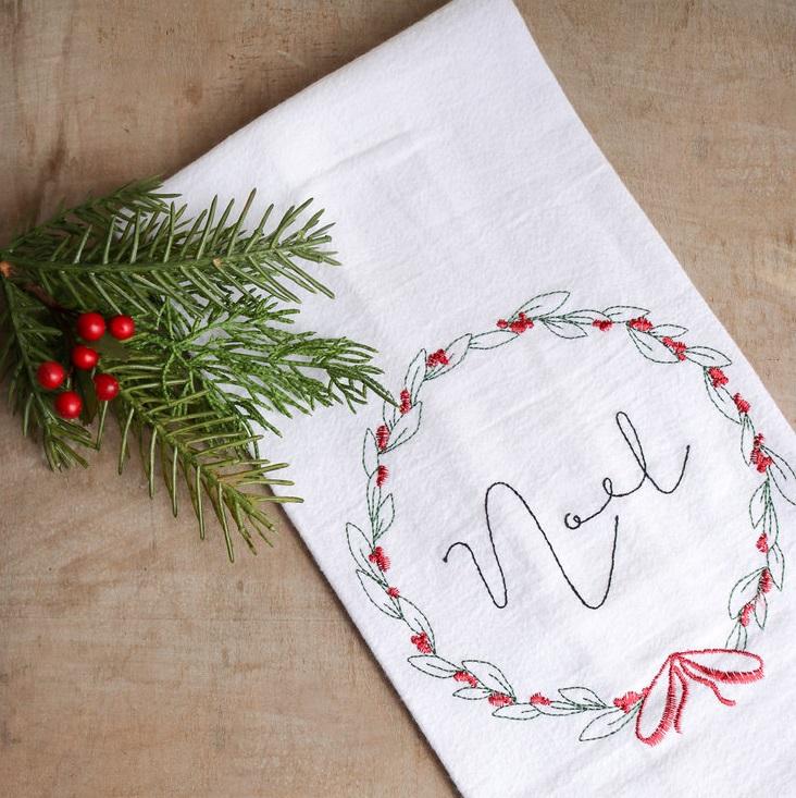 christmas noel flour sack tea towel