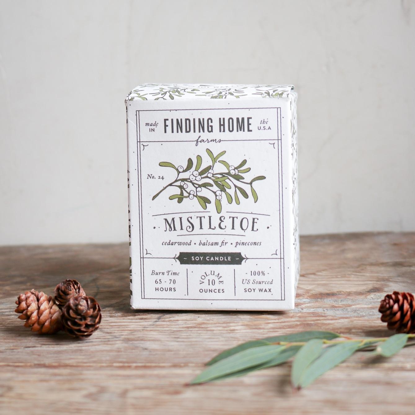 holiday soy candle mistletoe cedarwood balsam fir