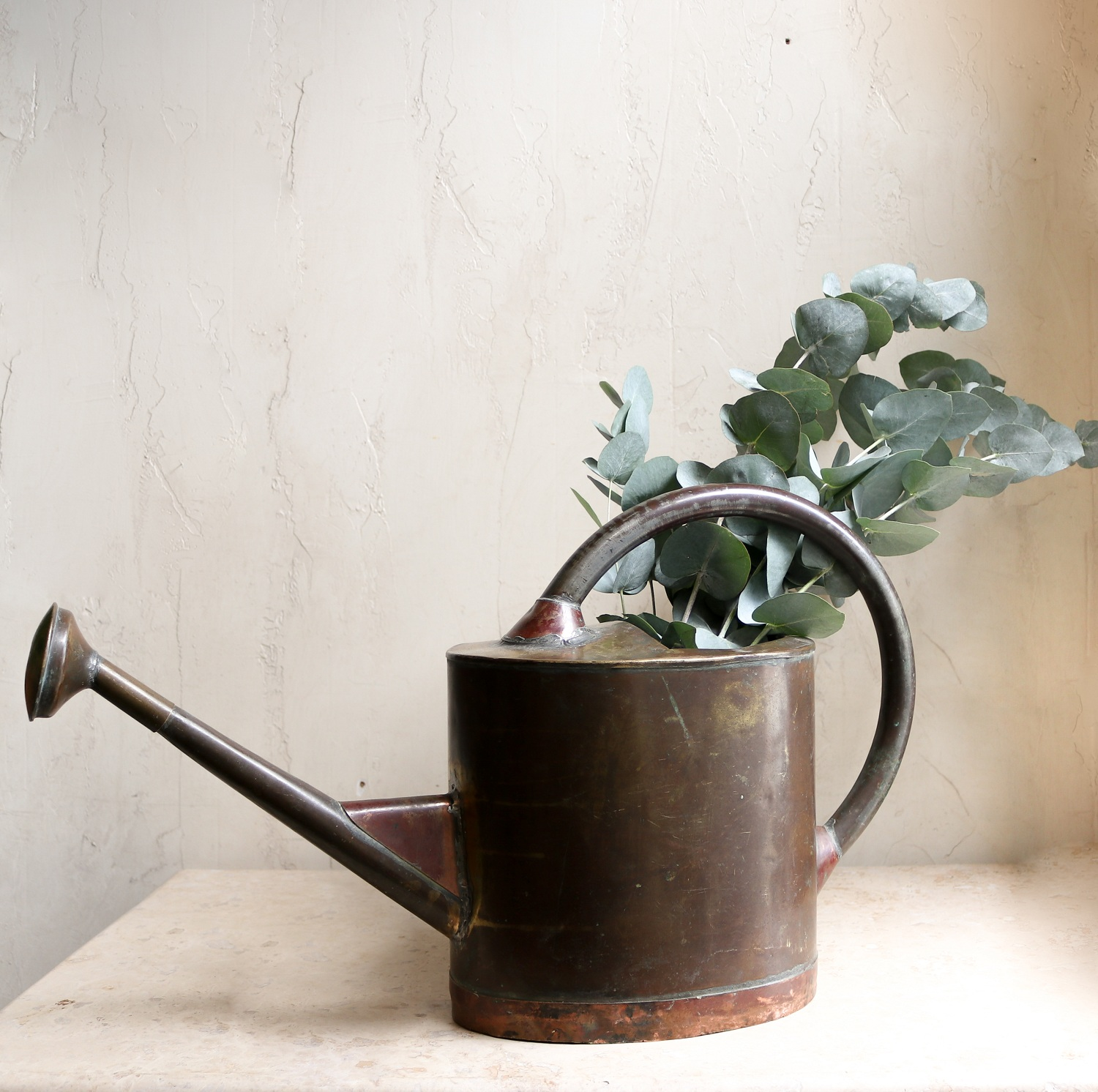 Vintage French Copper Brass Watering Can Garden Plants Flowers