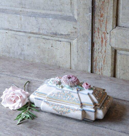 Vintage Porcelain Jewelry Trinket Box Hand Painted Multi Colored Female Male Landscape Design Victorian Design Dresser Top Home Decor