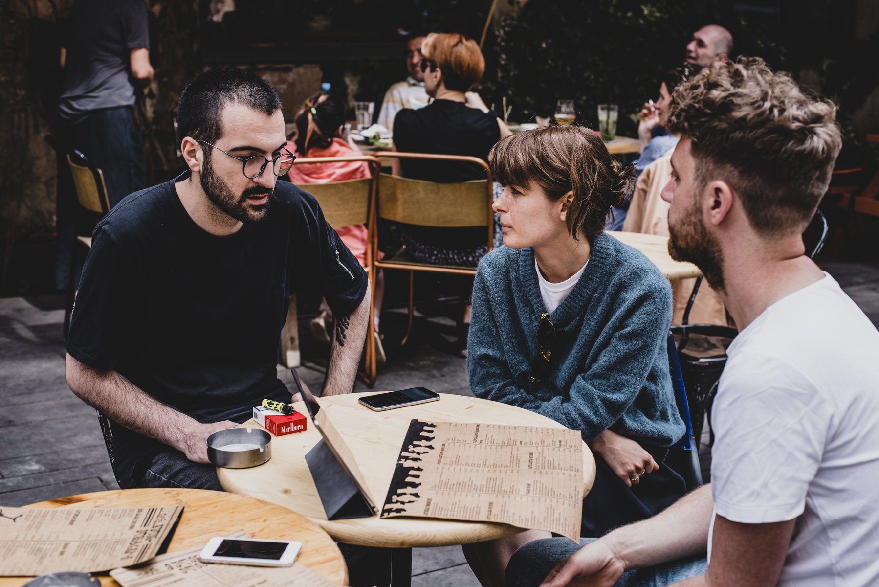 Interviewing Alexander Gabrichidze of KHIDI alongside Najaaraq Vestbirk, aka Courtesy, Tbilisi, May 2018. Photograph:  Kasia Zacharko