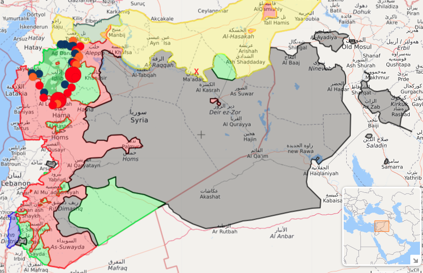 Areas of Isis control (in grey) in Syria and Iraq on 16 March 2017. Jezra's approximate location is marked with a red X. SDF-controlled territory is in yellow, red is Syrian regime, green areas are Free Syrian Army, Hayat Tahrir al-Sham, Ahrar al-Sham and various other rebel groups, darker green area in the far north-west shows Turkish occupation of Kurdish-majority areas in northern Syria. Source: liveuamap.com
