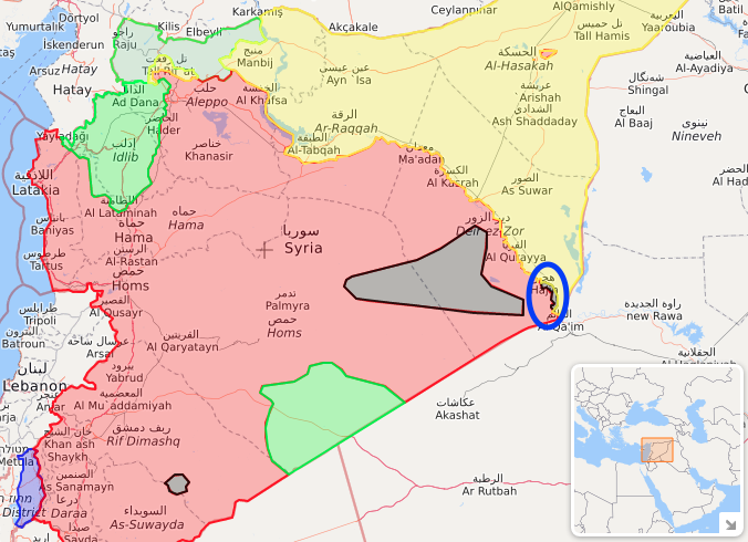isis control/activity in Syria on 25 September 2018. Circled is the Hajin pocket, the last stretch of Isis-held towns in Syria, which is currently under attack by the SDF. Source: liveuamap.com