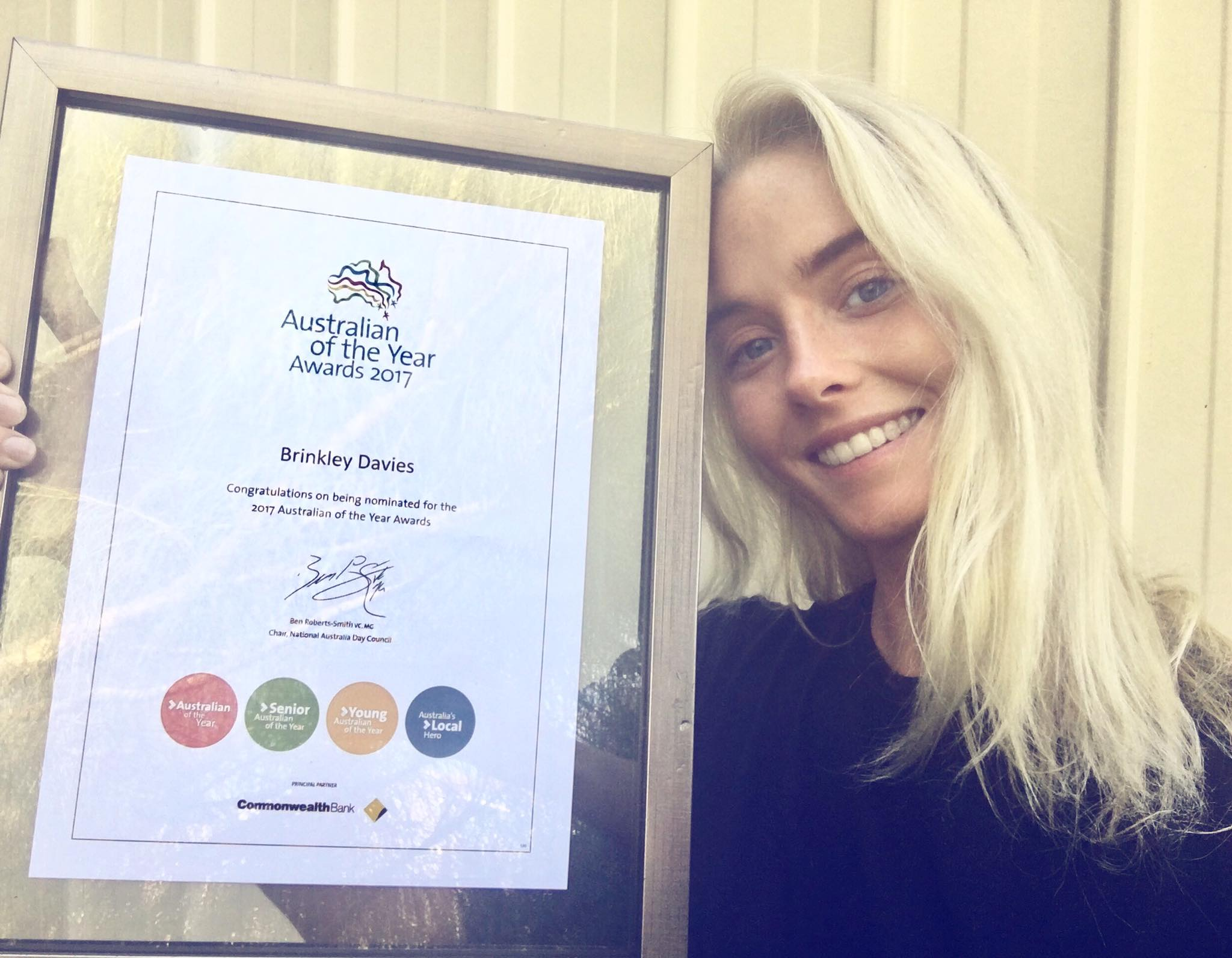 In 2017 and 2018, Brinkley was an voted as an official nominee for Australian of the Year award, among 12 other young Australians.