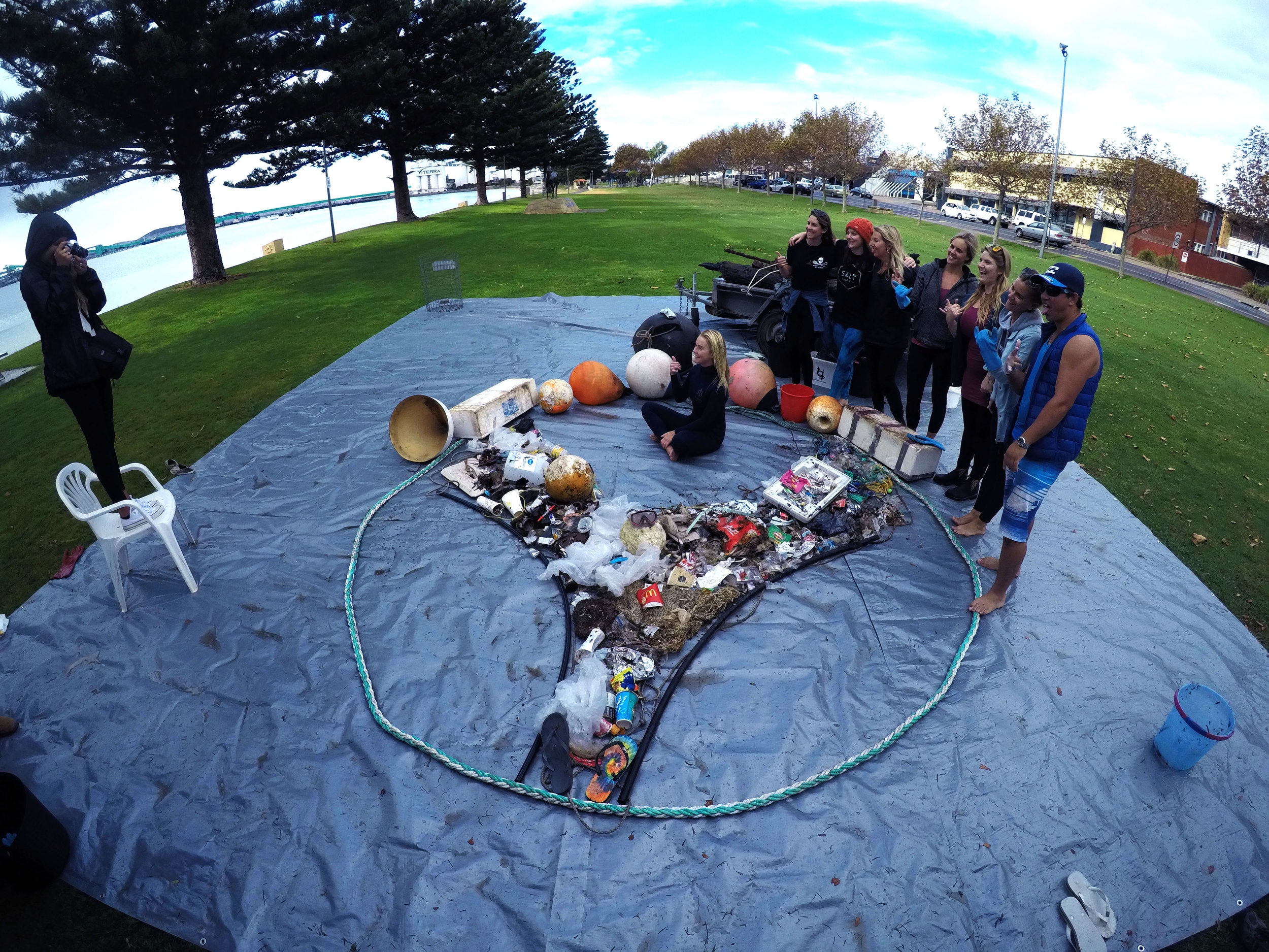 The Balu Blue Foundation logo made our out of rubbish that was collected at the 2017 #CLEARTIDES even in Port Lincoln, in collaboration with SALT Festival