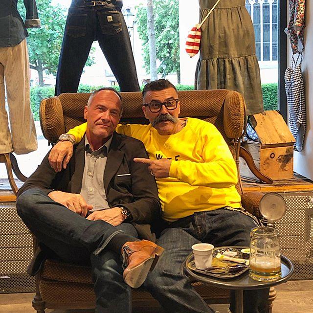 #Iovino #clothandindigo #clothing #mens-womenswear #qualityclothing #qualitywear #denim #denimpants #selvedge #raw #rawdenim #newheritage #newvintage @elsolitariomc @elsolitariowtf @hensteethitaly @maege.frei  Today my old friend Markus visit us for a talk, nice to see'ya 😉💪🏻⚓️