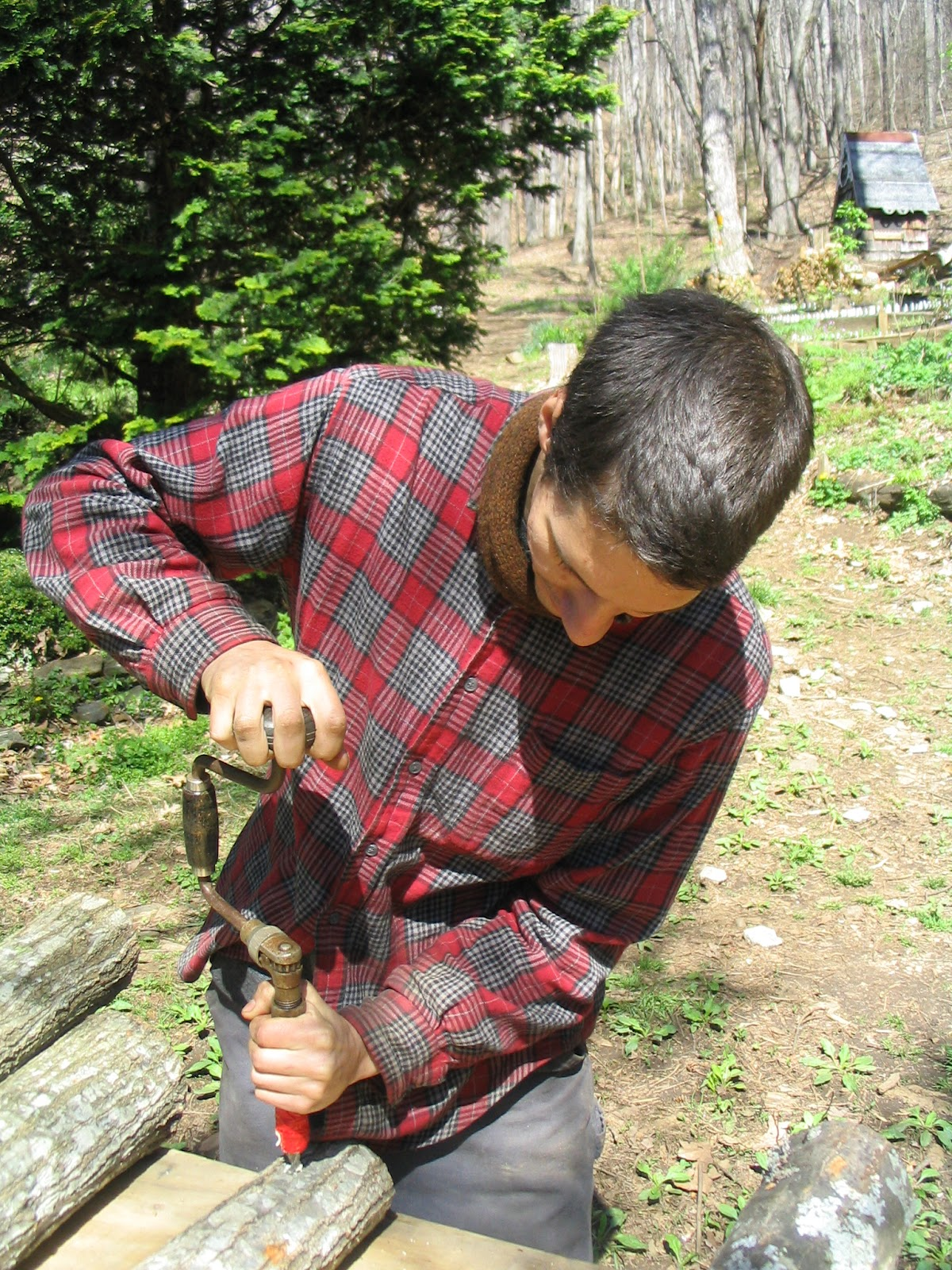 Sean hand drilling holes in the log!